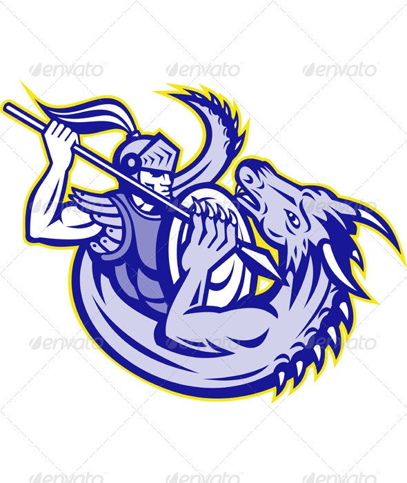 Knight St. George Fighting Dragon Mascot - People Characters