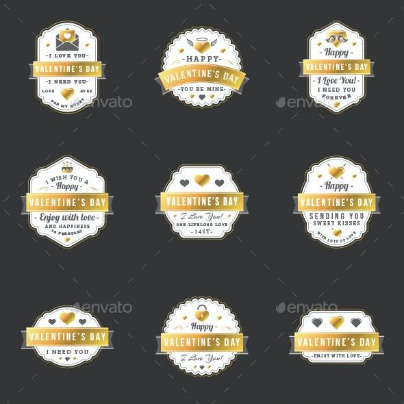 Set of 9 St. Valentine's Badges
