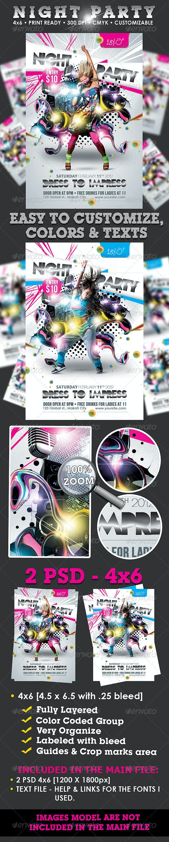 Night Party Flyer Template - Clubs & Parties Events