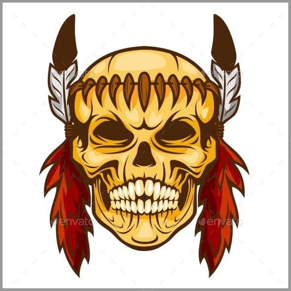 American Native Chief Skull Vintage Design