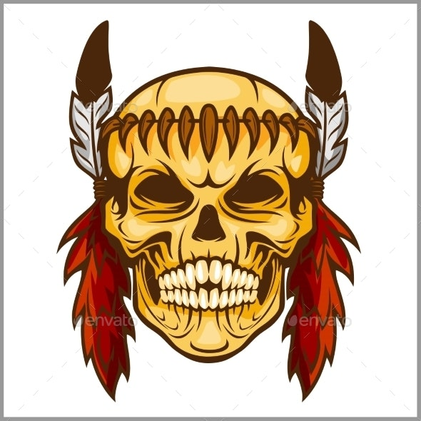 American Native Chief Skull Vintage Design