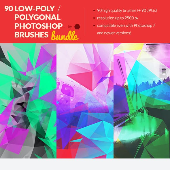 90 Low-Poly / Polygonal Photoshop Brushes Bundle