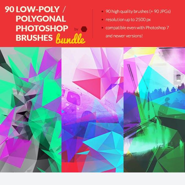 90 Low-Poly / Polygonal Photoshop / Procreate Brushes Bundle