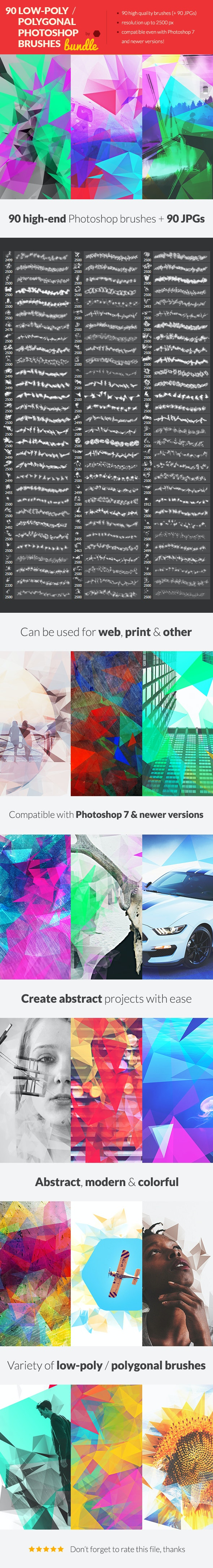 90 Low-Poly / Polygonal Photoshop Brushes Bundle - Brushes Photoshop