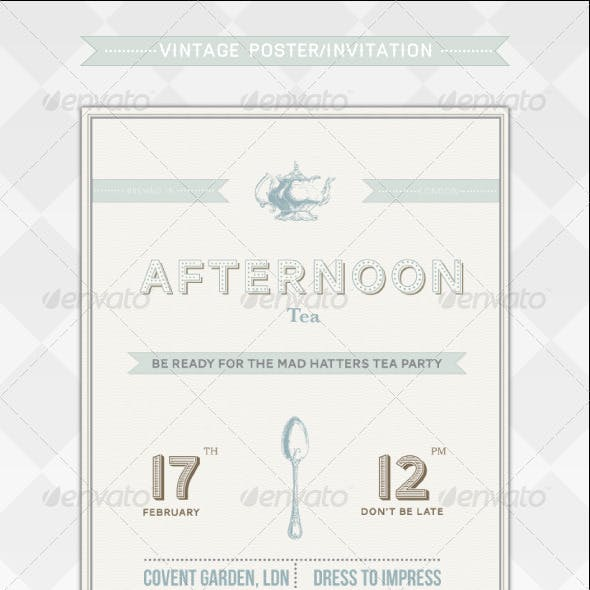 Retro Tea Party Flyer/Invitation