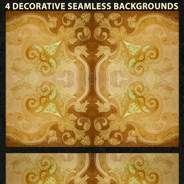 4 Ornate Decorative Seamlesss Backgrounds