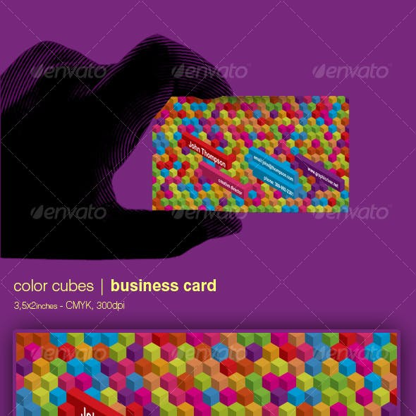 Color cubes business card - 3,5x2 inches