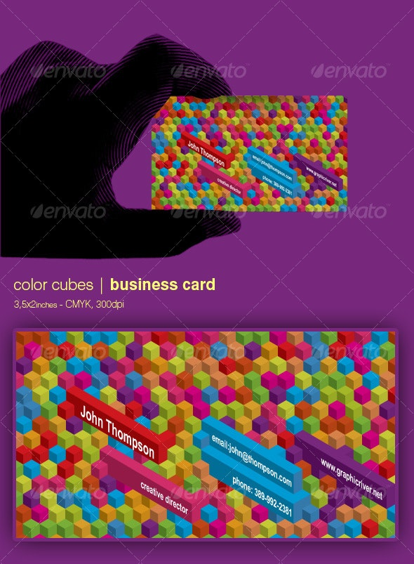 Color cubes business card - 3,5x2 inches - Creative Business Cards