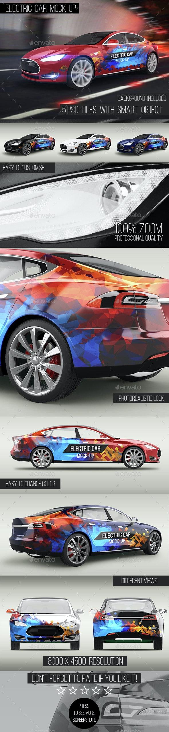 Electric Car Mock-Up - Vehicle Wraps Print