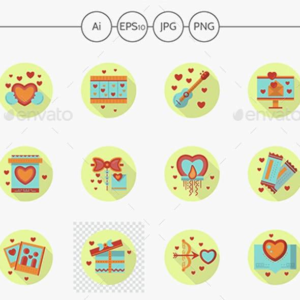 Romantic event flat color round vector icons