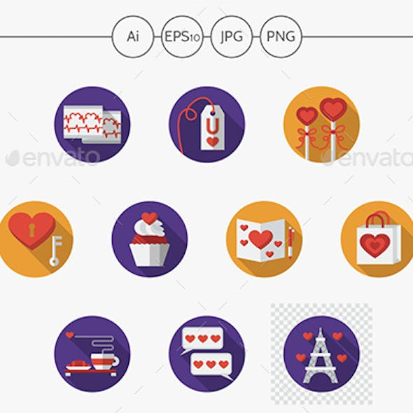 Round colorful romantic vector icons