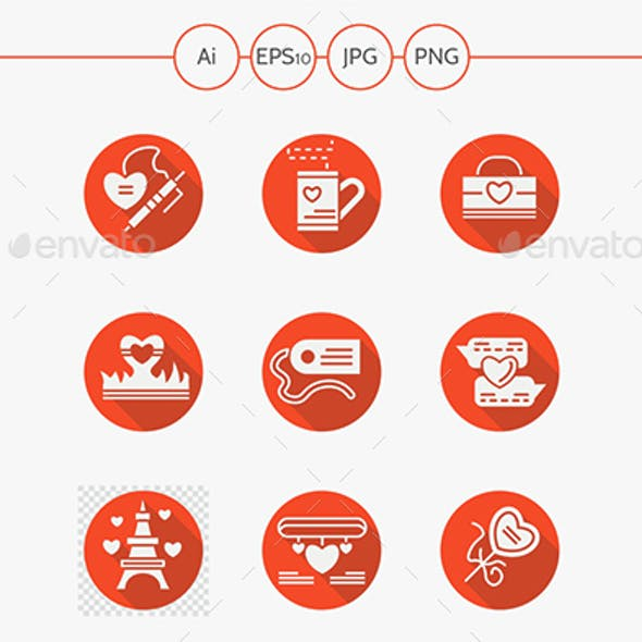 Love red round flat icons set