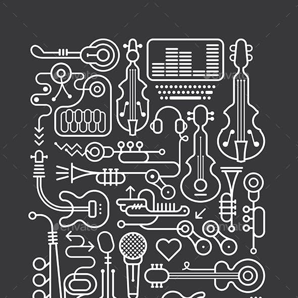 Music Shop Art Line Vector