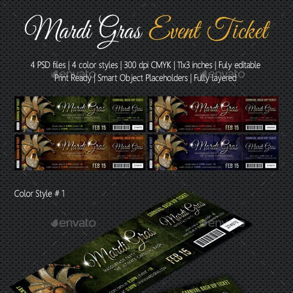 Mardi Gras Carnival Party Event Ticket