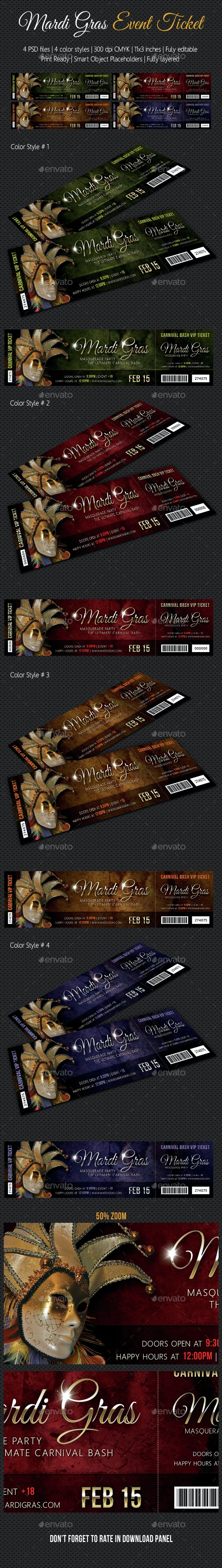 Mardi Gras Carnival Party Event Ticket - Cards & Invites Print Templates