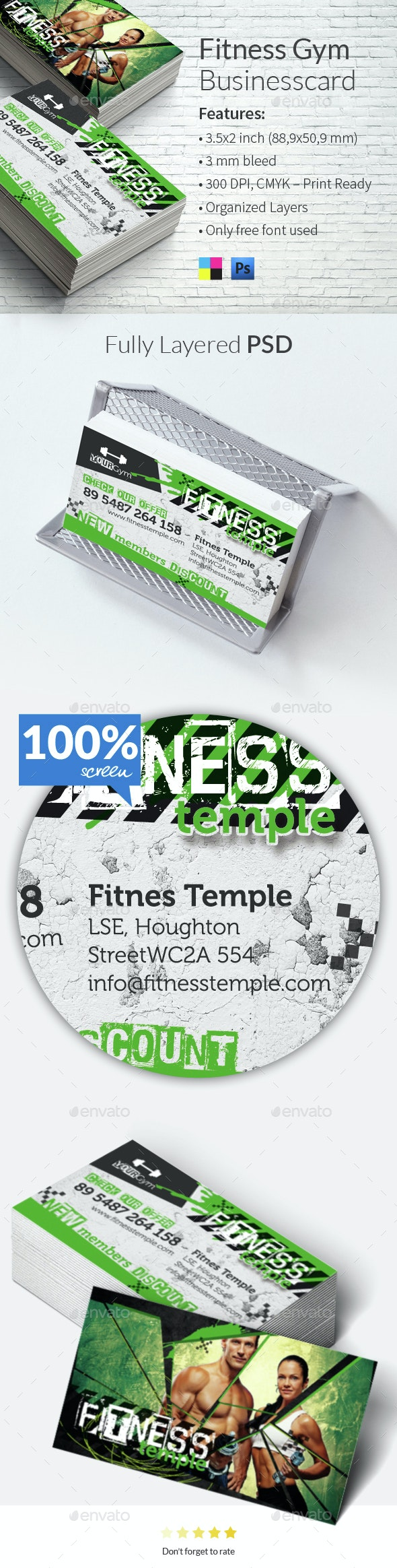 Fitness Gym Businesscard Template - Business Cards Print Templates