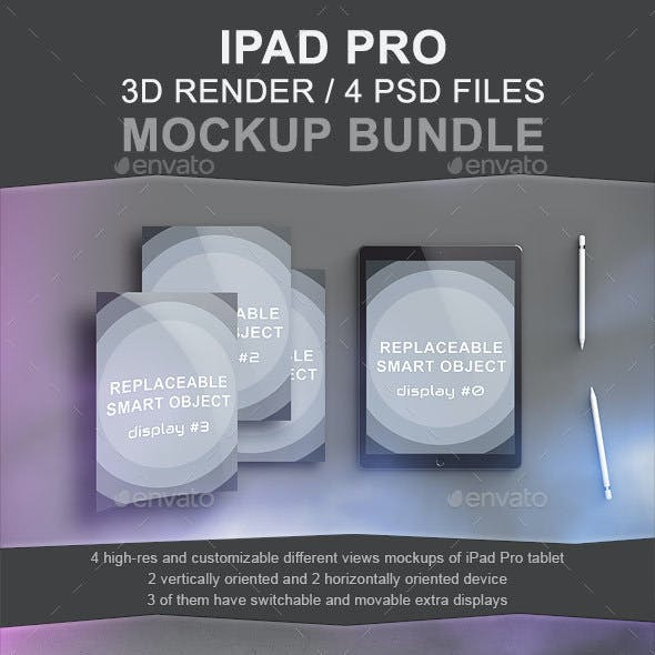 Ipad Pro Mockup Bundle - 3D Render
