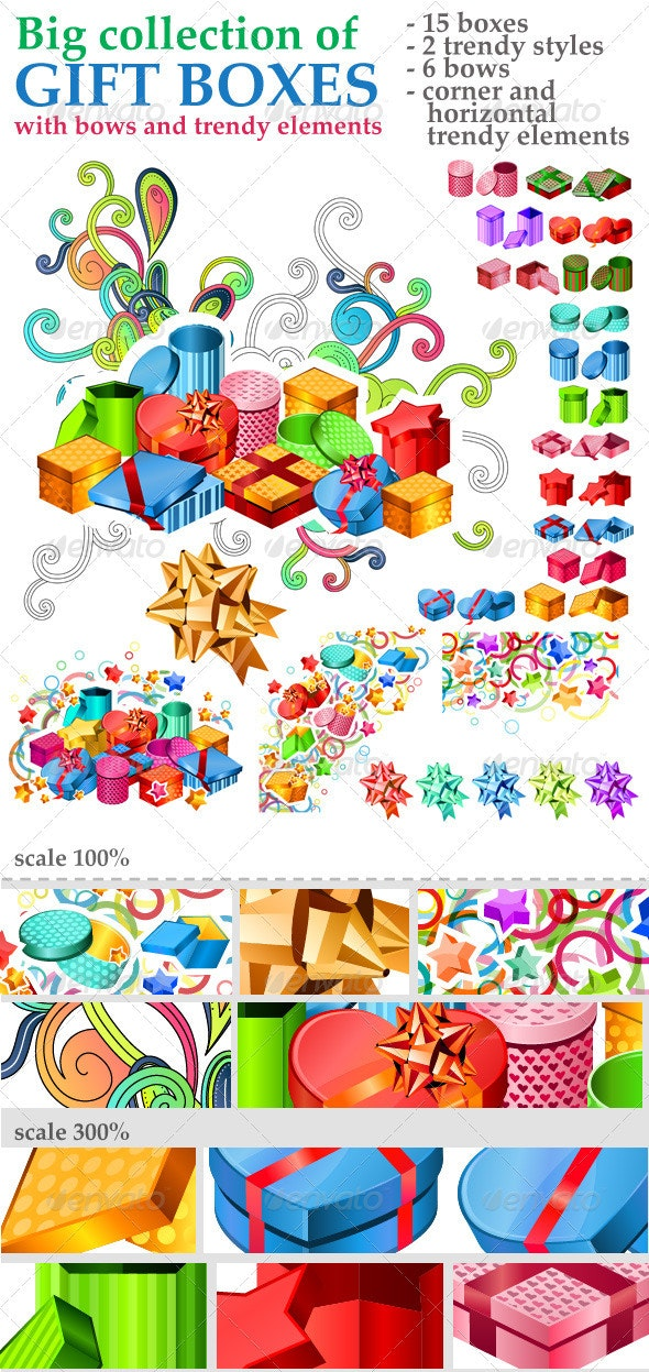 Big Collection of Gift Boxes with Trendy Elements - Seasons/Holidays Conceptual