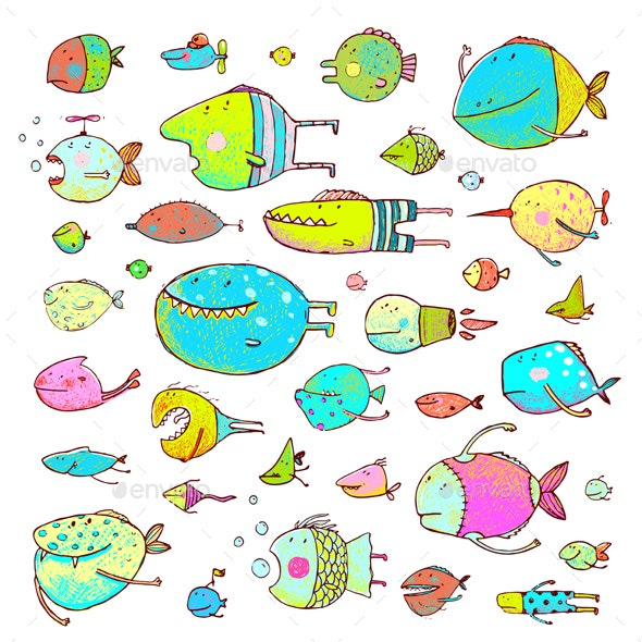 Cartoon Bizarre Fish Collection for Kids Hand Drawn - Monsters Characters