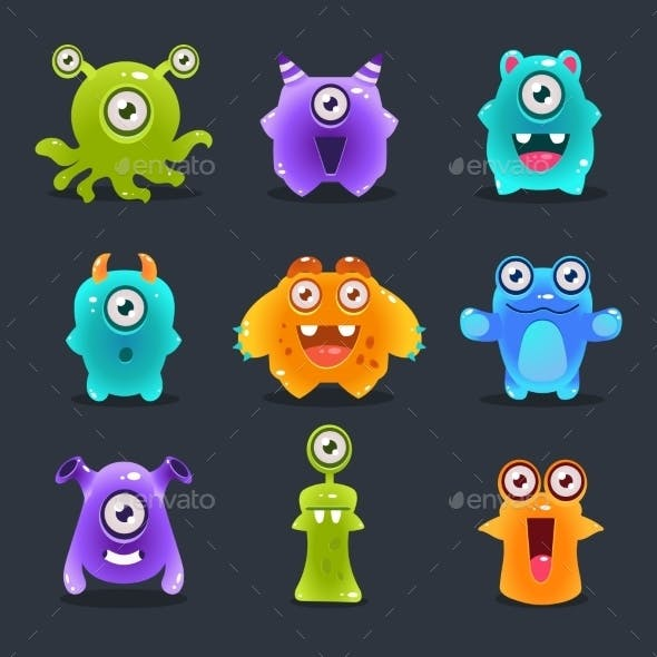 Monsters Lovely Vector Illustration