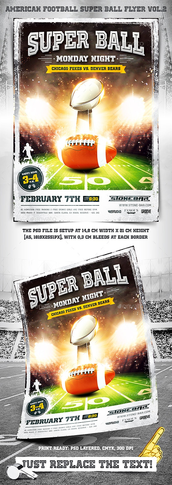 American Football Super Ball Flyer vol.2 - Sports Events