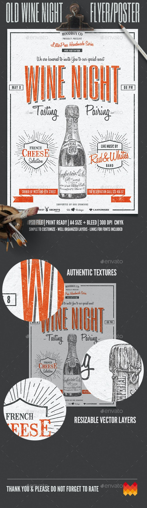 Vintage Wine Night Flyer/Poster - Flyers Print Templates