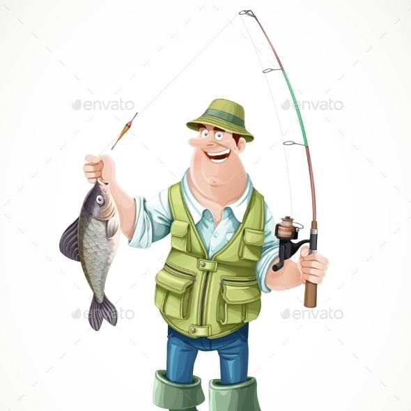 Fisherman In Rubber Boots With a Caught Fish