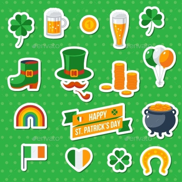 Set of St. Patricks Day Flat Icons