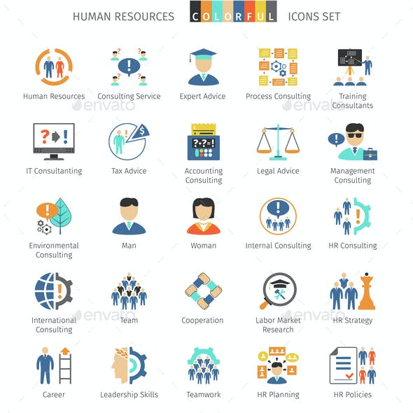 Human Resources Colorful Icons