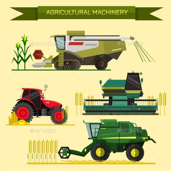 Set of Agricultural Vehicles and Farm