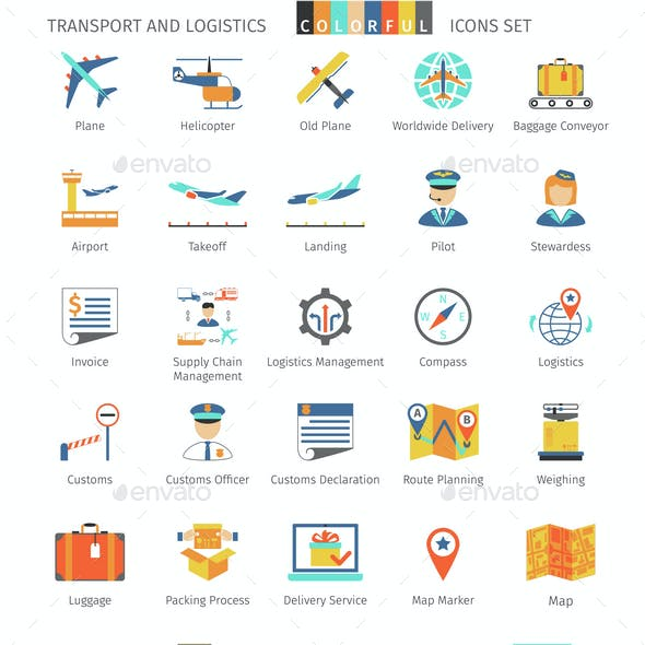 Transport And Logistics Colorful Icons
