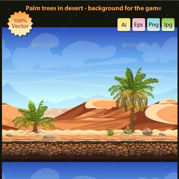 Palm trees in desert - seamless background