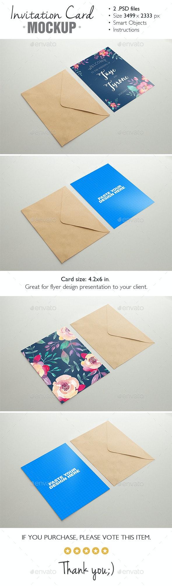 Invitation Card Mockup v.3 - Product Mock-Ups Graphics
