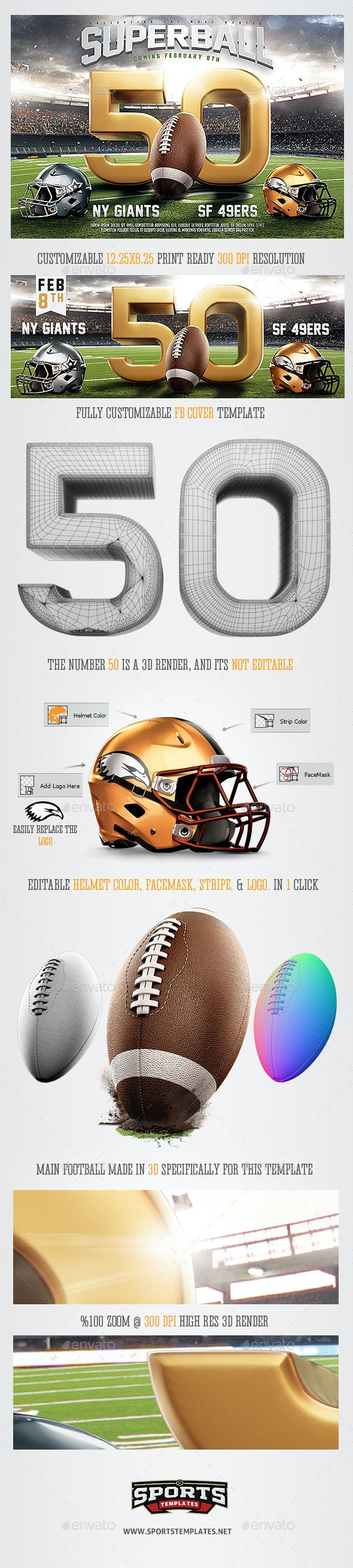 Super Ball American Football Flyer Template - Sports Events