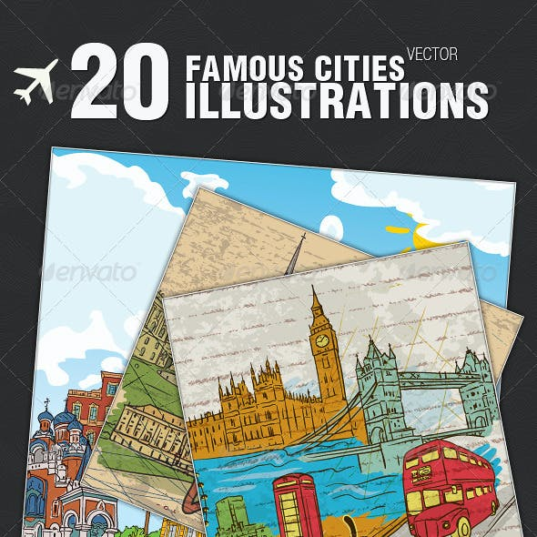 20 Famous Cities Vector Illustrations