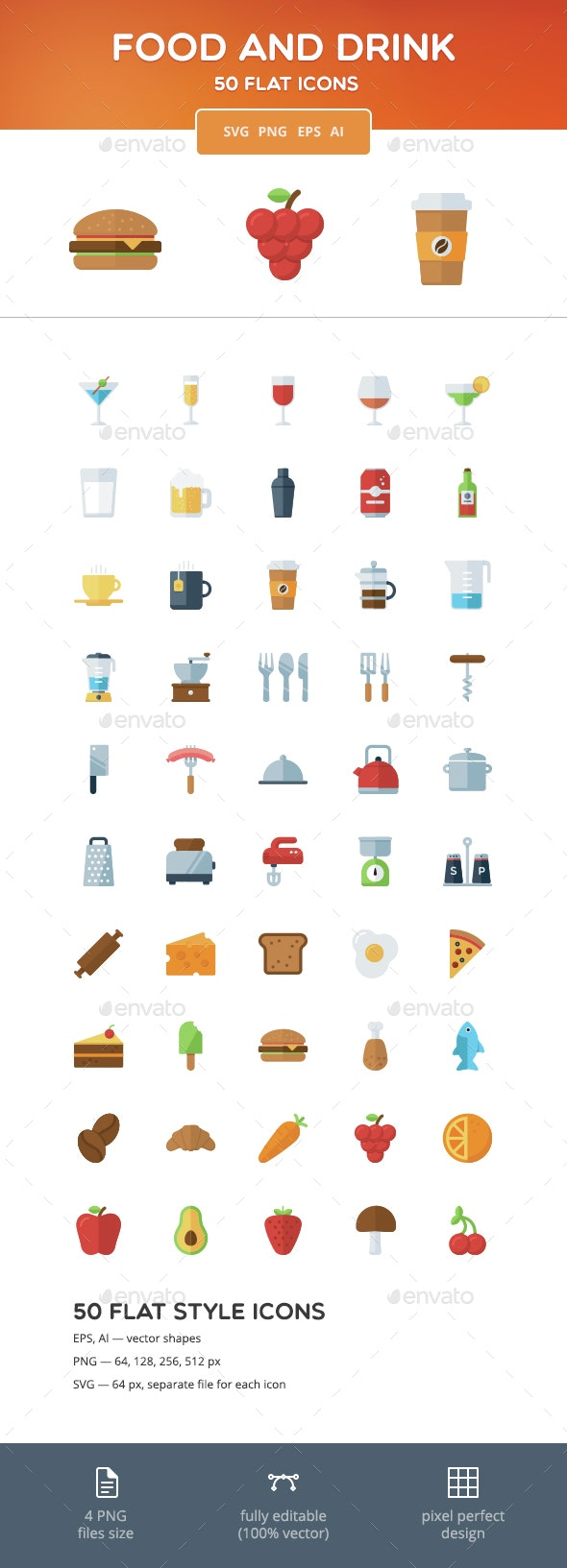 Food and Drink Flat Icons - Food Objects