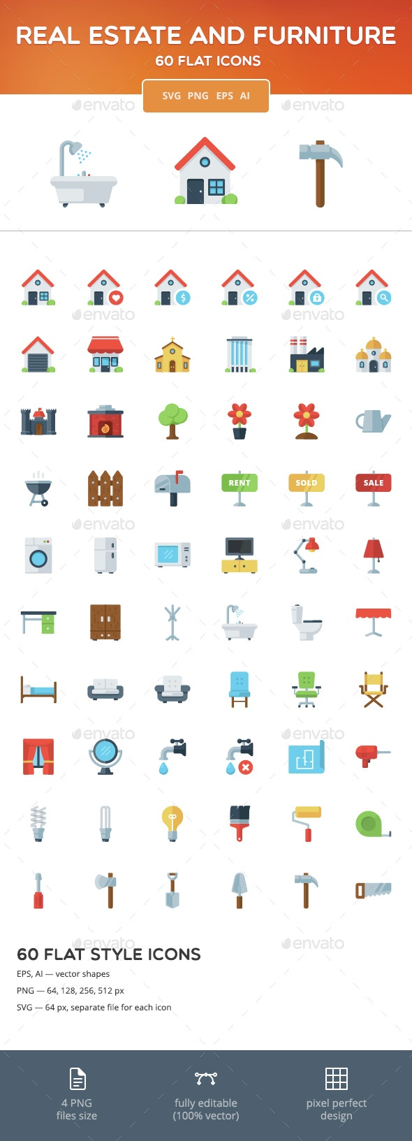 Real Estate and Furniture Flat Icons - Buildings Objects