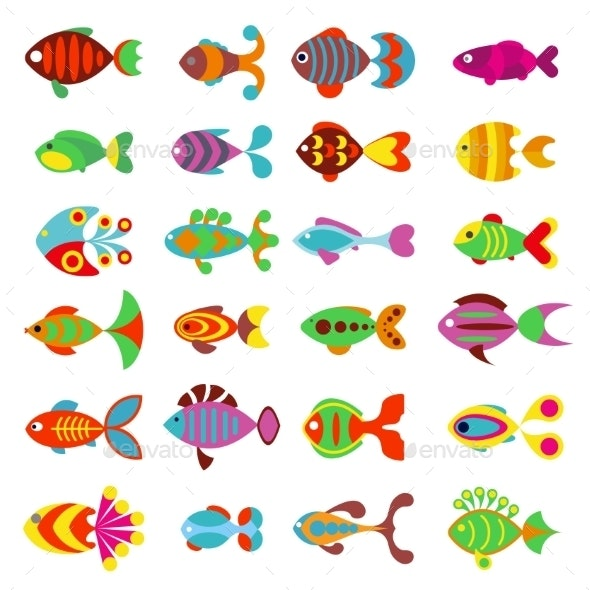 Aquarium Flat Style Fishes Vector Icons - Animals Characters