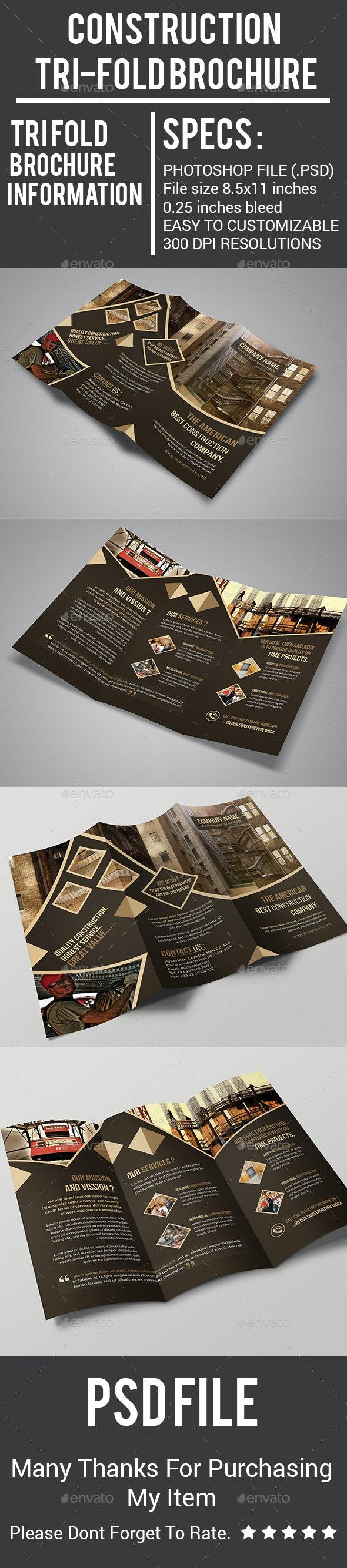 Construction Tri-Fold Brochure - Corporate Brochures