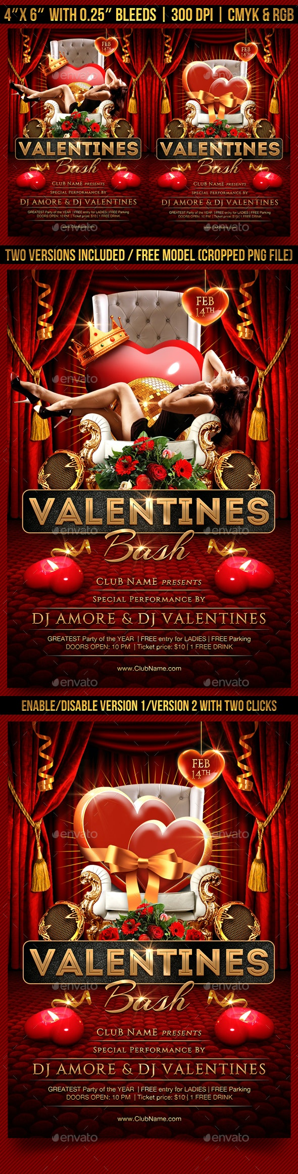 Valentines Bash Flyer - Clubs & Parties Events