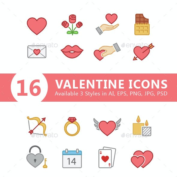 Set of 3 Styles of Valentine Icons