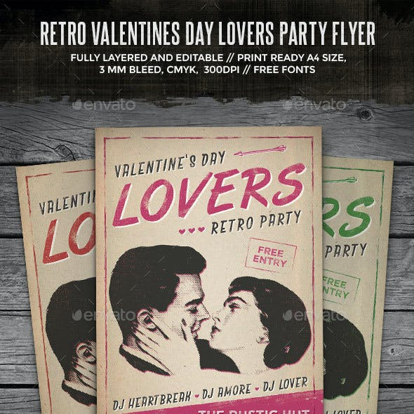 Retro Lovers Party Flyer