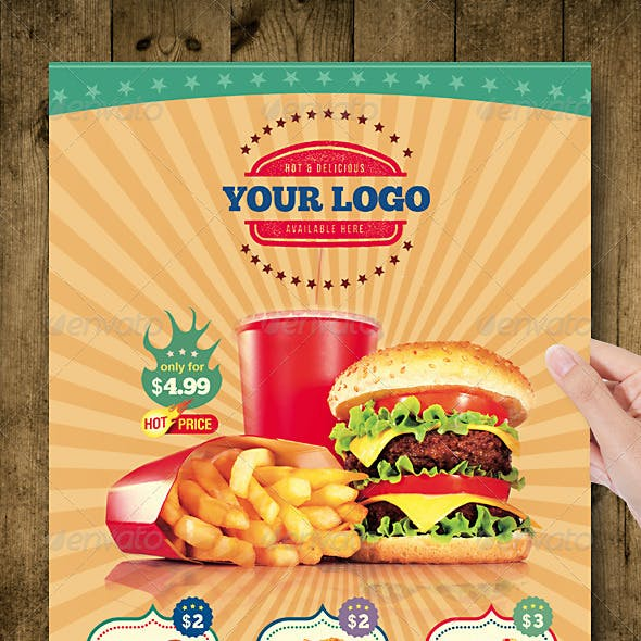 Fast Food Flyer Menu Restaurant A4