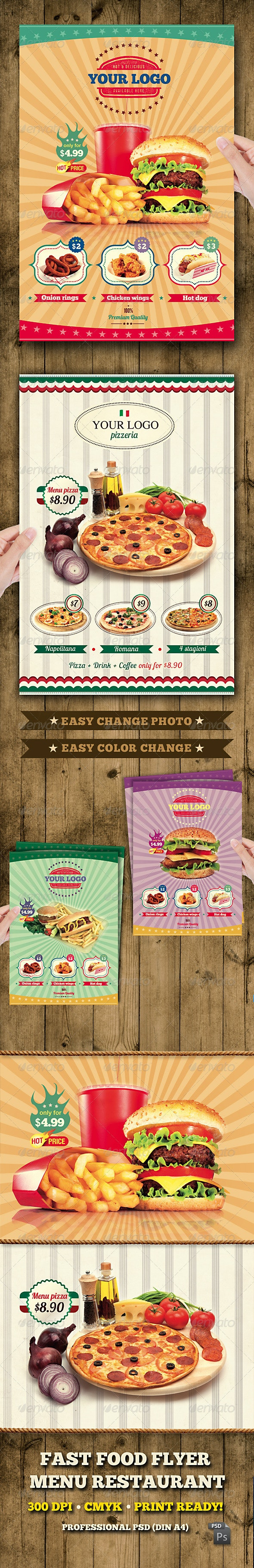 Fast Food Flyer Menu Restaurant A4 - Restaurant Flyers