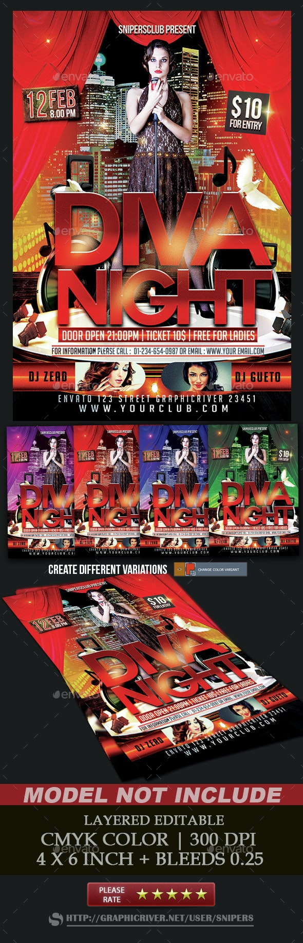 Diva Night Flyer - Events Flyers