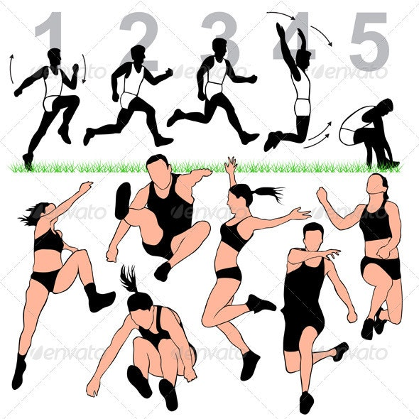 Long Jump Silhouettes Set  - Sports/Activity Conceptual