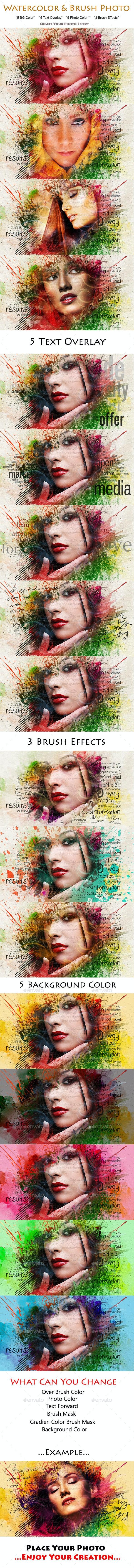 Watercolor & Brush Photo - Photo Templates Graphics