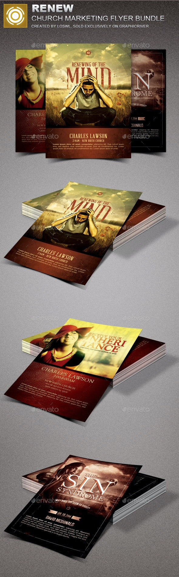 Renew Church Marketing Flyer Template Bundle - Church Flyers