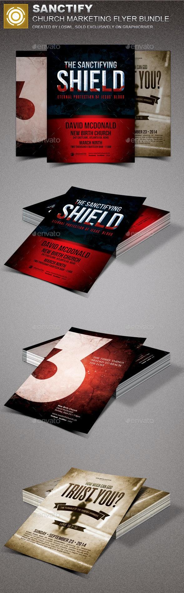 Sanctify Church Marketing Flyer Template Bundle - Church Flyers