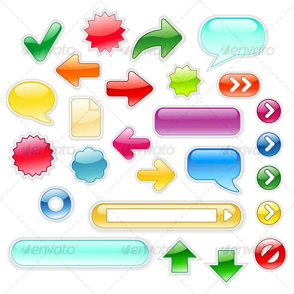 Glossy Web Elements - Decorative Symbols Decorative